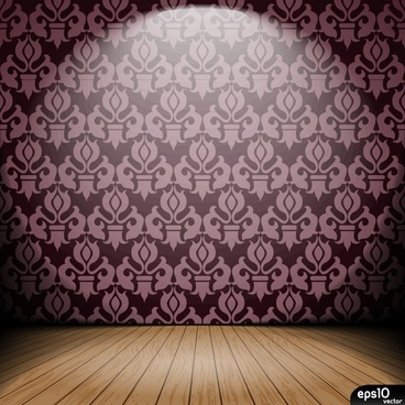 stage template classic wallpaper wooden floor decor