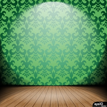 stage background modern sketch green wallpaper wooden floor