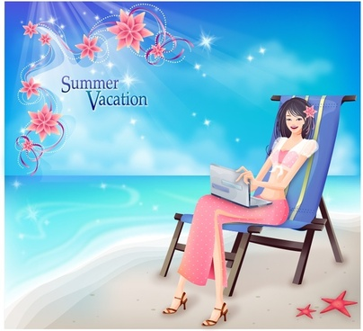 summer background beach scene relaxed woman icons