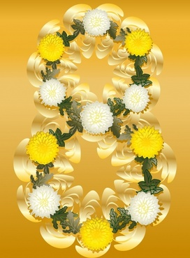 woman day background modern colorful floras number layout