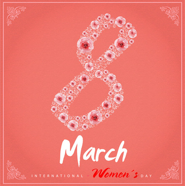 international womens day banner design with flower background