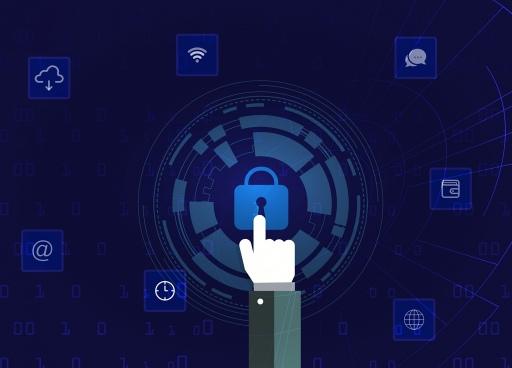 internet security background hand lock ui elements decor