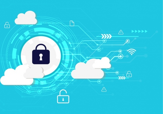 internet security background technology elements lock clouds icons