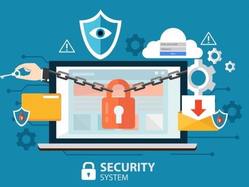 internet security concept banner laptop chain lock icons