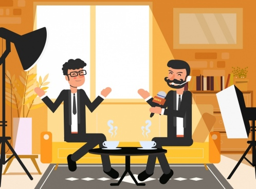 interview background elegant men icons cartoon characters