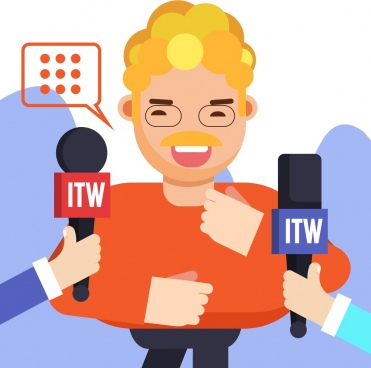 interview background man microphones hands speech bubble icons