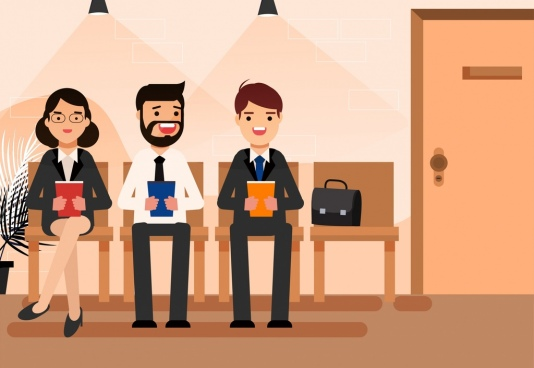 interview background waiting candidates icons cartoon characters
