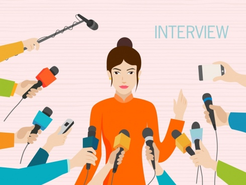 interview background woman reporter microphone icons cartoon design