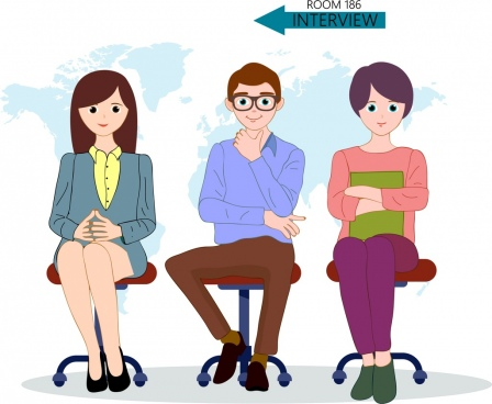 interview instruction banner interview instruction banner candidate icons cartoon characters sketch
