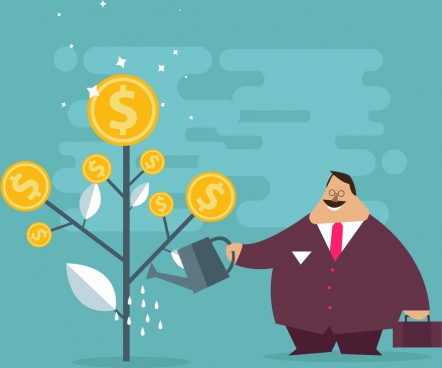 investment background fat man tree gold coins icons