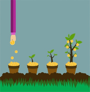 investment concept illustration with hands growing coins trees