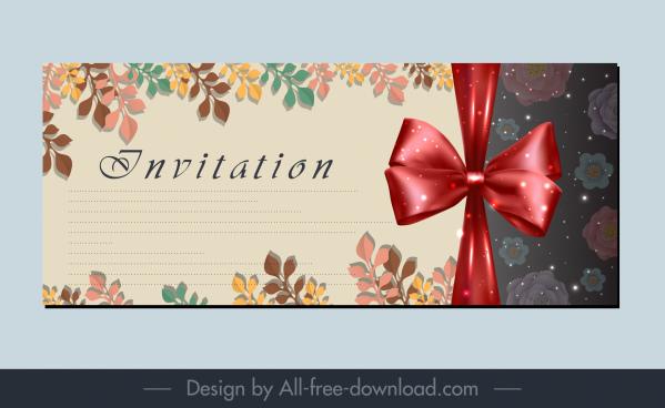 invitation card background elegant shiny bow leaves decor