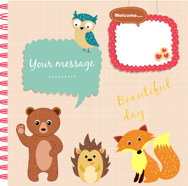 invitation card background with cute animals on notebook