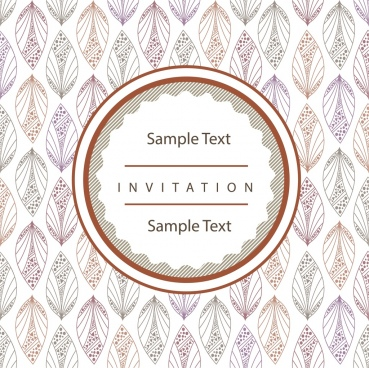 invitation card cover template classical sketch repeating leaves