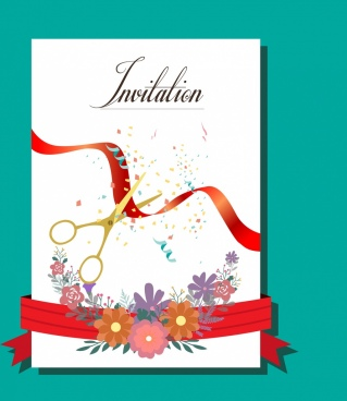 invitation card cover template flowers cutting ribbon ornament