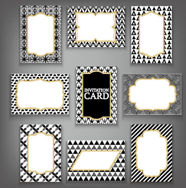 invitation card frame with black white pattern vector