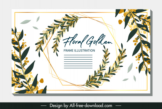 invitation card template classical leaves decor