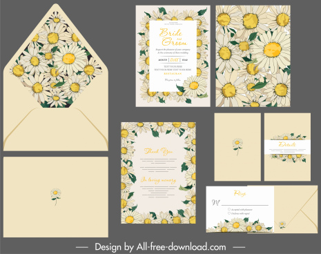 invitation card template elegant daisy botany decor