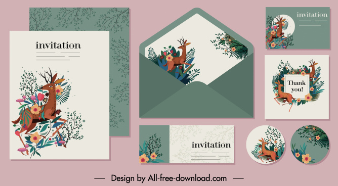 invitation card template natural reindeer floral decor