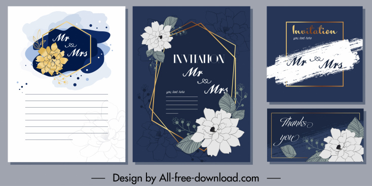 invitation card template retro flora grunge decor