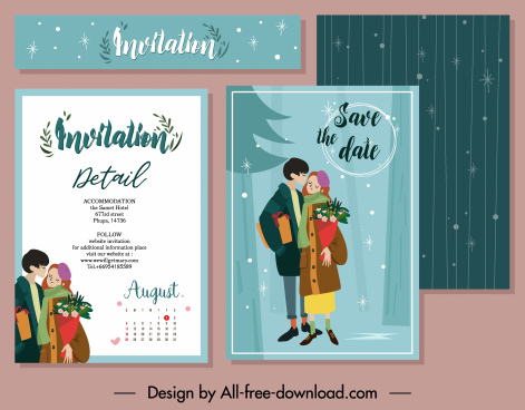 invitation card template romantic couple winter theme