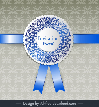 invitation card template shiny elegant ribbon floral decor