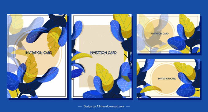 invitation card templates classic colorful leaves decor