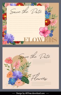 invitation card templates colorful elegant retro flora decor