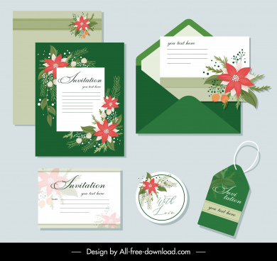 invitation card templates elegant colorful floral decor
