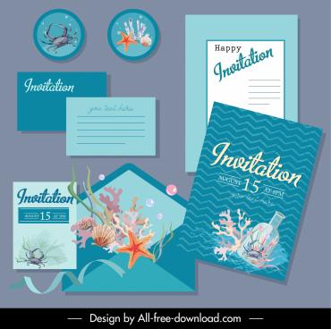 invitation card templates elegant marine elements decor