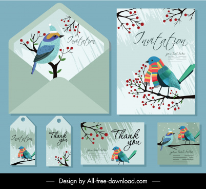 invitation card templates natural bird tree decor