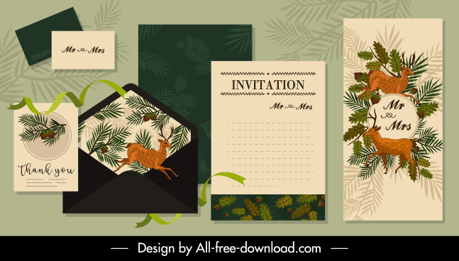 invitation card templates natural reindeers fir tree decor