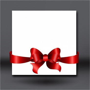 Invitation card with red ribbon and bow