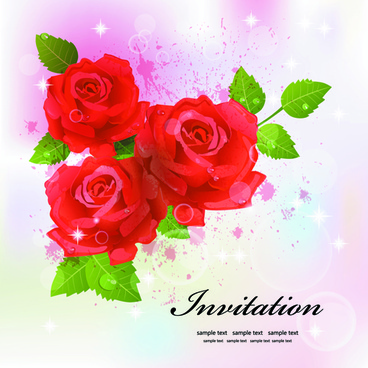 invitation cards with flowers design vector