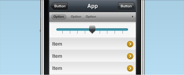 iPhone Interface with Slider Selector