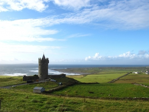 ireland castle by the sea tower