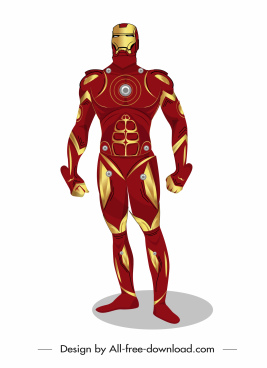 iron man hero icon colorful modern design