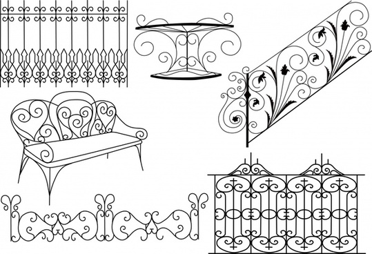 iron furniture design elements classical symmetric curves