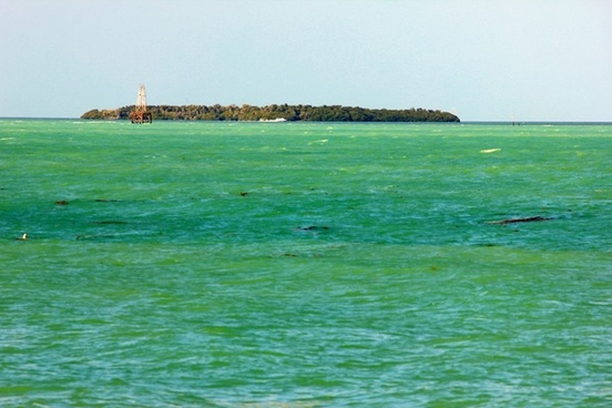 island among blue green water in key west florida