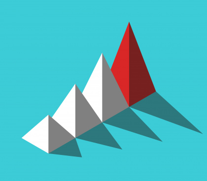 isometric red unique leader pyramid bright color