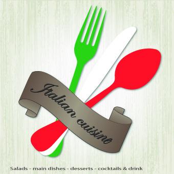 italian menu design elements vector