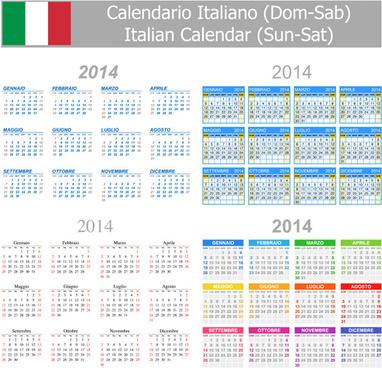 italian version calendar14 vector set