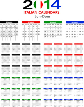 italian version calendar14 vector set