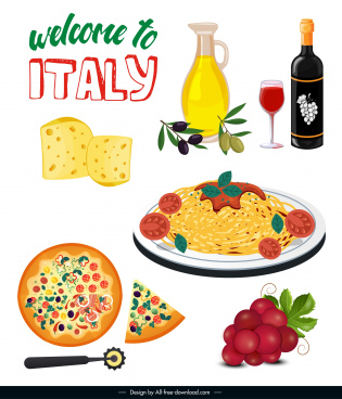 italy advertising banner food elements sketch