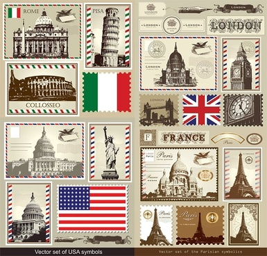 italy france britain vector