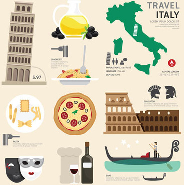 italy tourism elements vector
