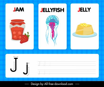 j alphabet educational background jam jellyfish jelly sketch