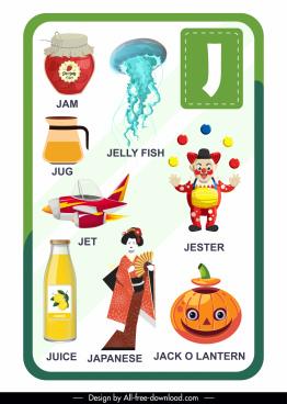 j alphabet educational template colorful flat symbols sketch