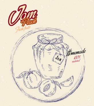 jam advertisement handdrawn sketch peach icon