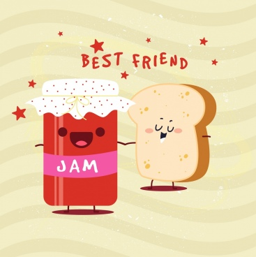jam advertising bread icon stylized cartoon design